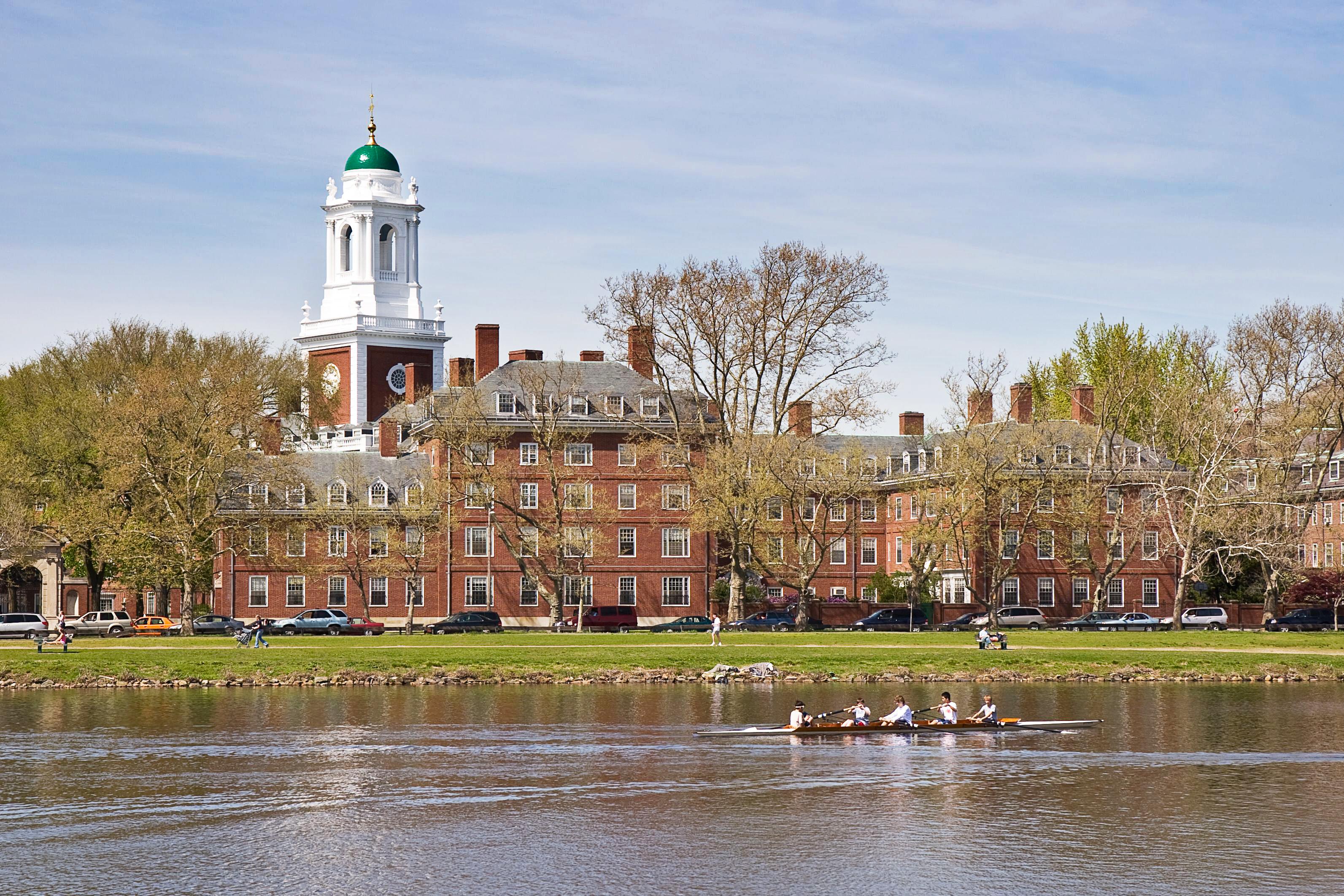 Kanotister ror längs med Charles river intill Harvards universitet.