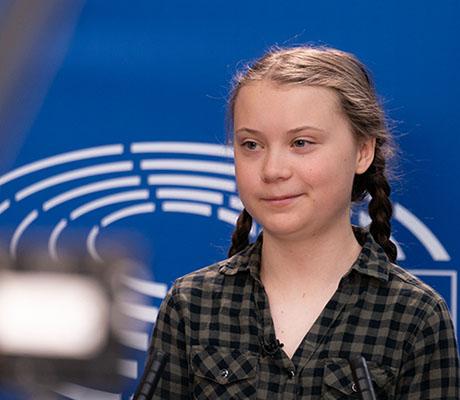 Greta Thunberg, Källa: Gabor Kovacs, copyright Europaparlamentet. Wikimedia Commons, se länk i artikeln.